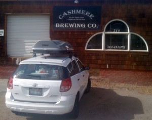 Washington Beer Cruiser waits patiently for Cashmere Brewing to open.