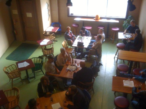 View of the pub's front room from the mezzanine.
