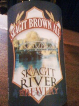 The new logo incorporated into the brown ale label.