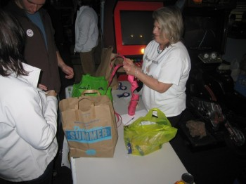 Participants are awarded raffle tickets in exchange for food.