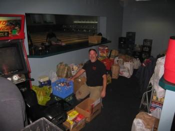 Ken (Big Al Brewing) helping organize the donations.