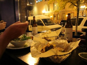Enjoying Goose Island Matilda with our dinners at Rick Bayless' XOCO