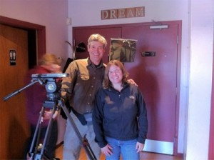 @sudsymaggie (Maggie) with Darrell the camera guy.
