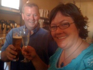 Kim enjoying a glass of sparkles, while our buddy Kyle enjoys a glass of draft beer. That's what we love about Vino Bello!