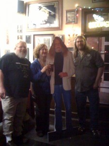 A picture from Sunday's event at the Horse Brass. Left to right - John Harris of Full Sail Brewing, Lisa Morrison (@Beer_Goddess), a cardboard Don Younger, and Drew Cluley of Pike Brewing.
