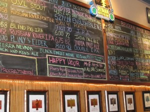 The big board at Russian River Brewing.