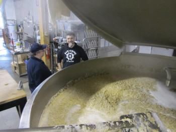 A lovely bed of grain. In the background, Don Scheidt of Celebrator Beer News and Scott Kirvan (aka @cptvideo).