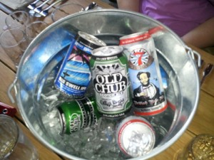 cans of beer at brave horse dinner