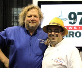Tom Douglas (left) with fellow Seattle culinary icon Thierry Rautureau.