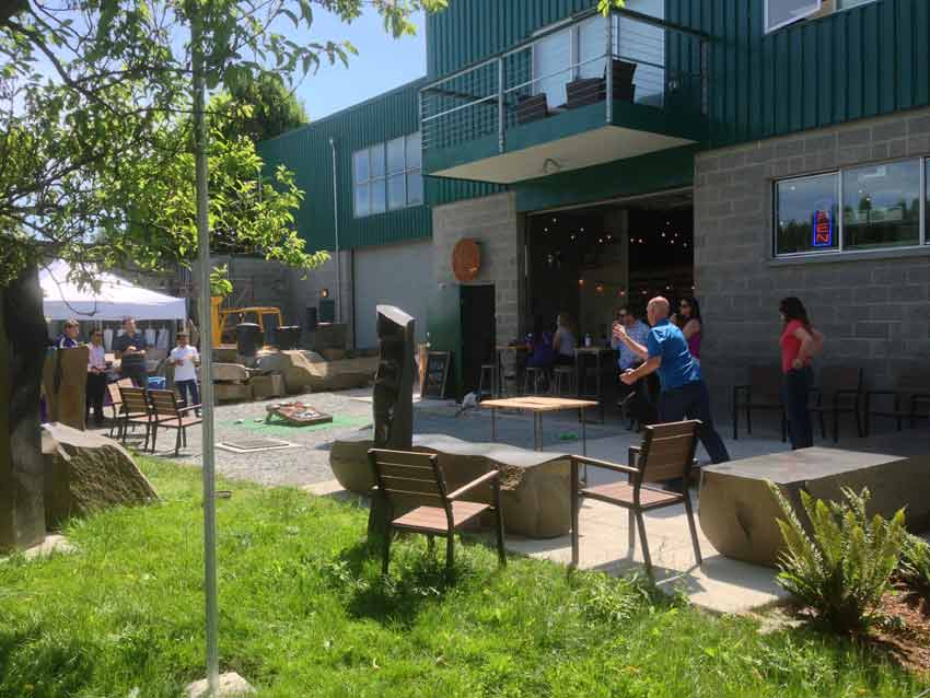 Enjoying the beer garden at Lowercase Brewing.
