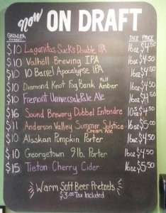 Sample tap list, from September 1, 2014.