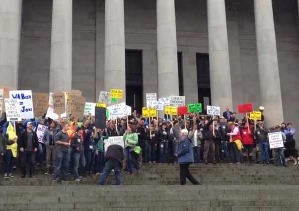 In 2013 there was a rally on the steps of the Capitol to oppose beer taxes. See our post.