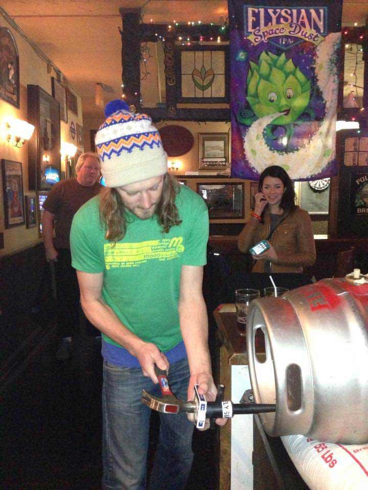 Cask-conditioned beer poured our way: straight from the keg.