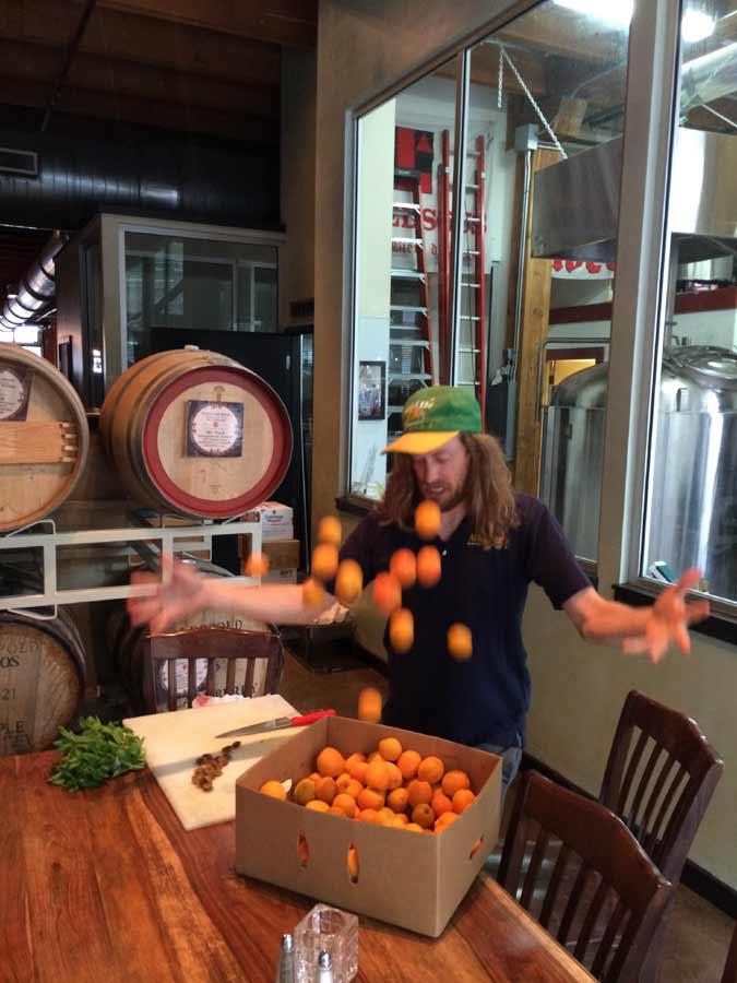 Steve juggling apricots
