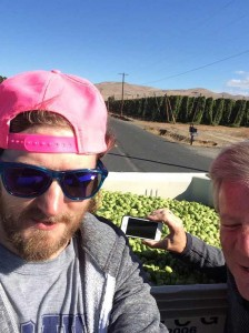 Poorly executed selfie with Dick Cantwell, getting fresh hops.