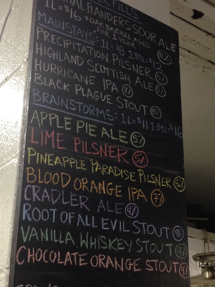 Storm beer list. Photo by Kendall Jones.