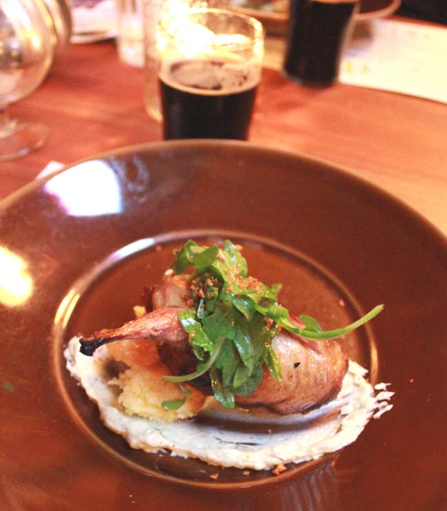 Brave Horse Beer Dinner with Almanac Brewing: Cocoa Nib Sausage Stuffed Quail, paired with Biere De Chocolat Porter.