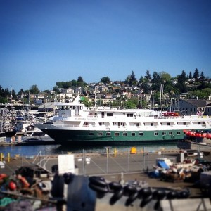 176-foot Wilderness Discoverer at dock in Fisherman's Terminal in Ballard