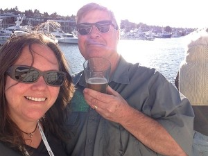 Beers on the sundeck as we departed via the Ballard Locks