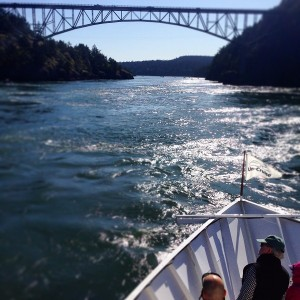 Heading through Deception Pass at slack tide