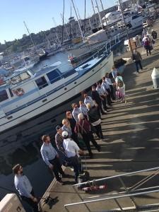 Like family in a week - the crew lines up to say farewell to guests at the end of the cruise