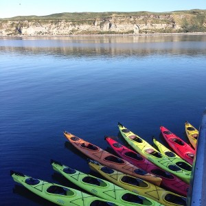 Kayaks ready to go at Protection Island off Port Townsend