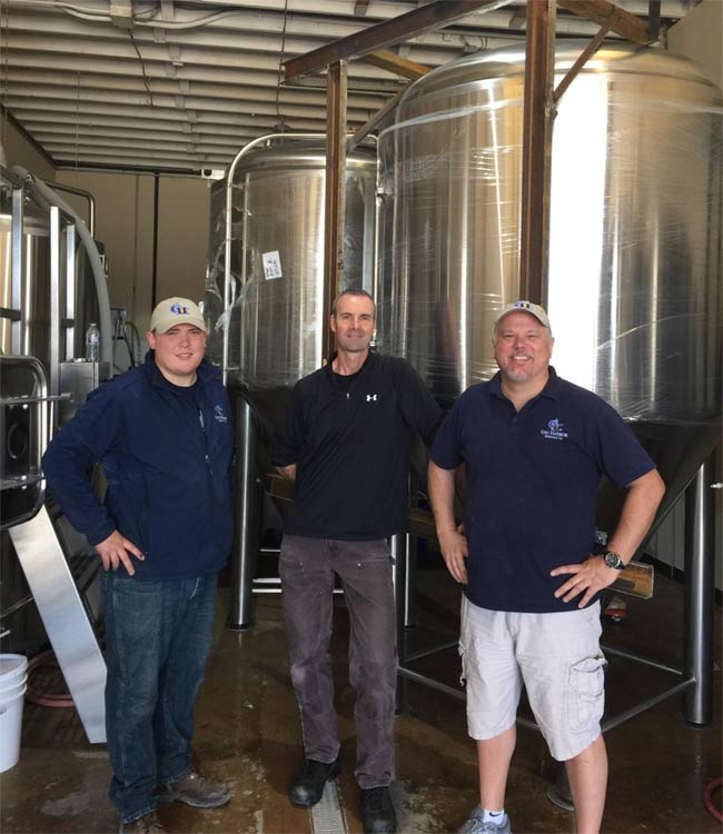 Left to right: Taproom Manager, Max Fosberg; Head Brewer, Mike O'Hara; Owner, John Fosberg.