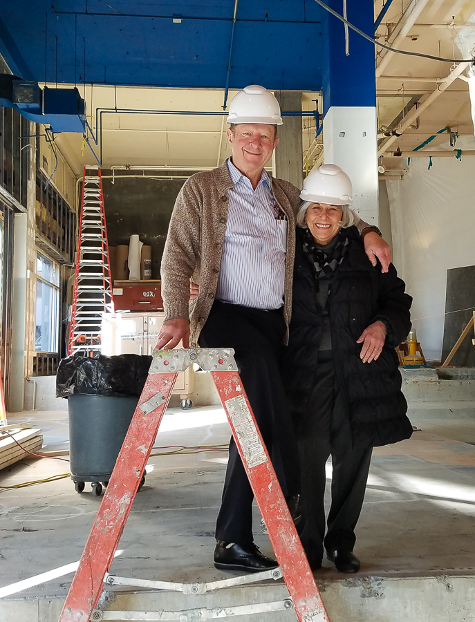 Pike founders and owners Charles and Rose Ann Finkel in the new space post-demolition