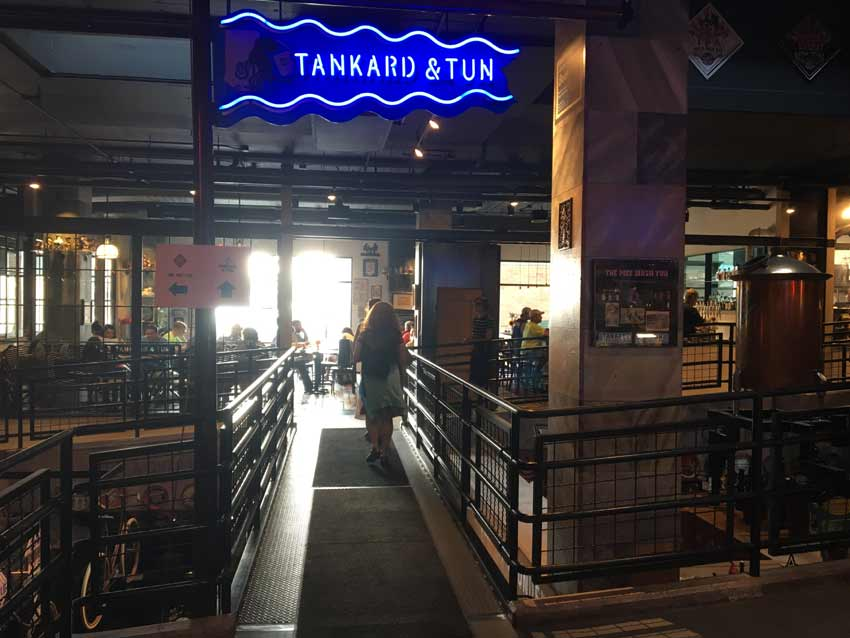 Tankard and Tun is at street level above the subterranean pub. It is there to greet people when they step in off of 1st Ave.