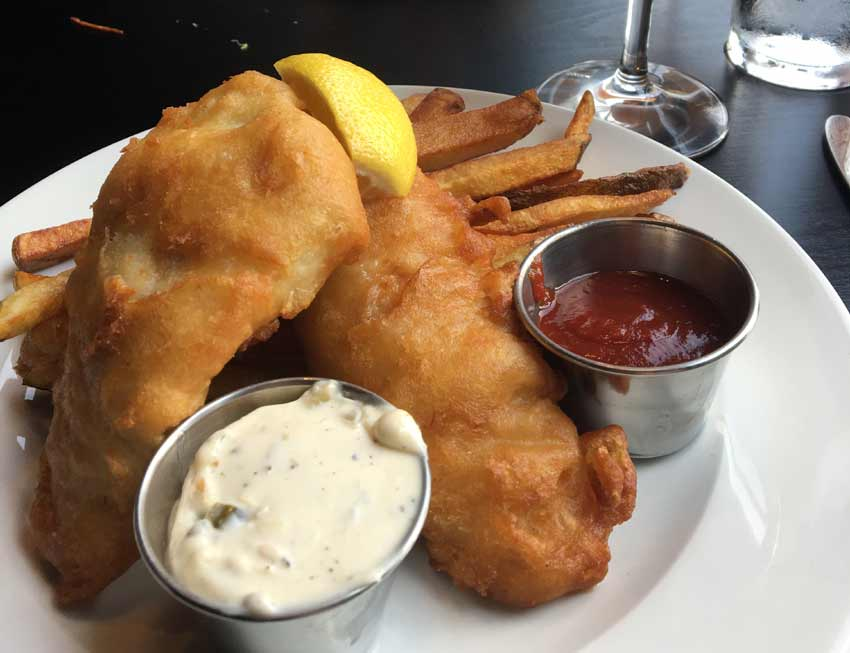 beer-batter fish and chips, served with house-made tartar sauce.