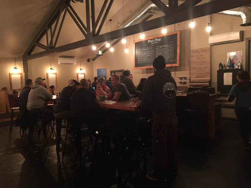 Inside the taproom at Valley House Brewing.