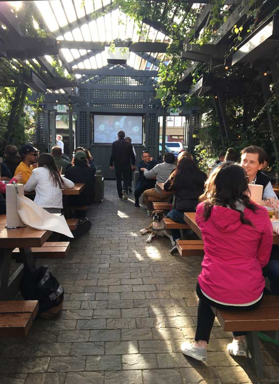 Beer garden out back at Alvarado Street Brewing. Beer only, for there or to go. Photo by Kim Sharpe Jones.