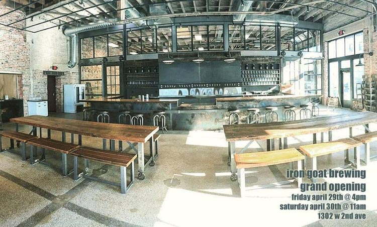 Renovation complete! Grand opening photo form spring 2016, by Iron Goat Brewing.