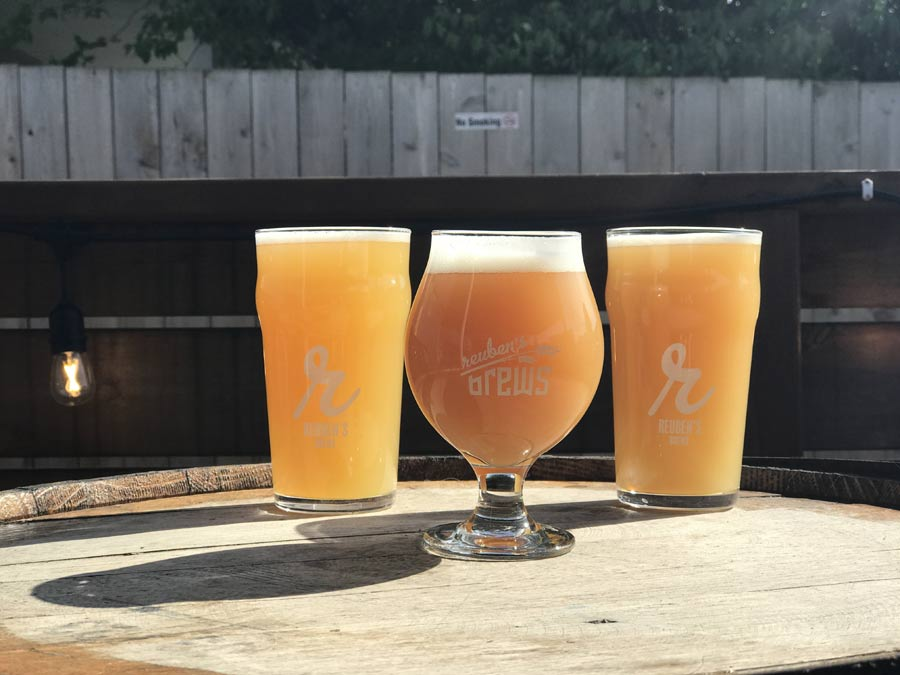 Three hazy IPAs from Reuben's Brews.