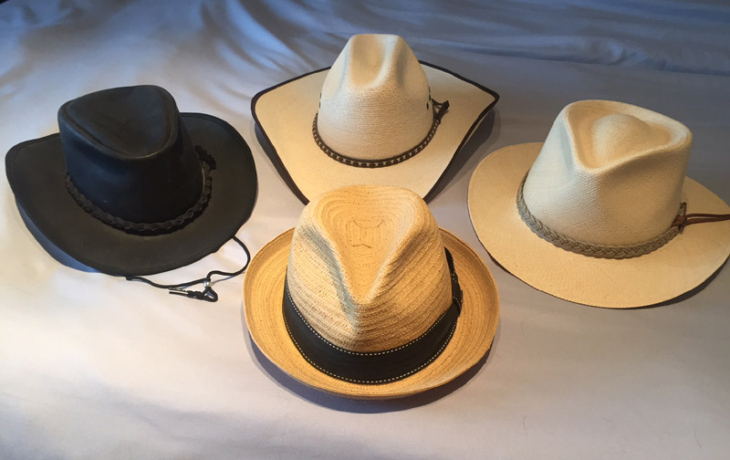 Currently, the top of my rotation. Clockwise from top: Dallas Palm cowboy hat, Scala Classico Panama, Scala Classico paper braid fedora, heavy leather Australian bushwalker.