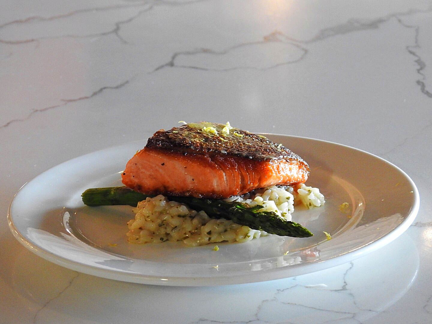 Sample-size portion of the salmon and risotto.