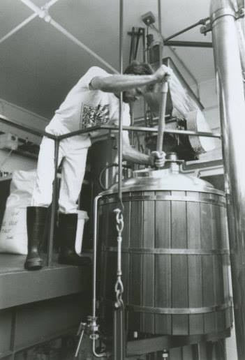 Part of the original Pike Brew Crew, Jason Parker (who now owns Copperworks Distilling) at the mash tun in 1989.