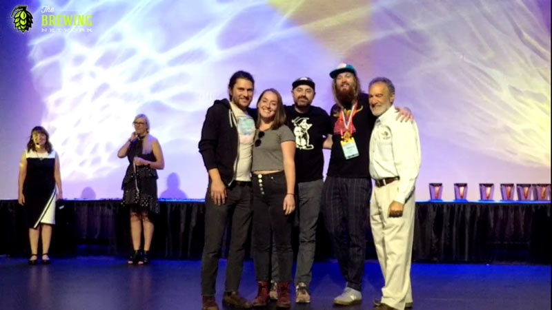 The Cloudburst crew receiving a gold medal at the 2019 GABF in Denver, another huge honor.
