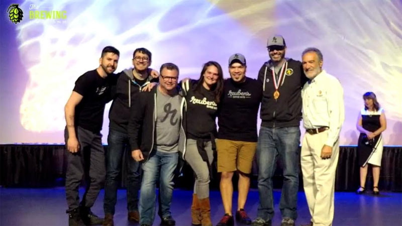 Reuben's Brews, the crew accepts another GABF medal.
