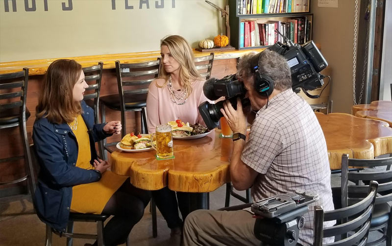 King 5 filming at Four Generals Brewing in Renton.