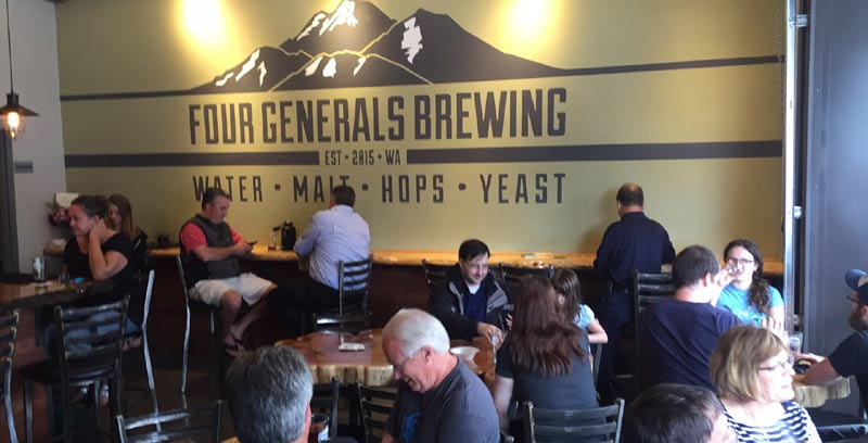 Four Generals Brewing in Renton. Not a huge taproom, but the owners decided there's enough room for the kids.