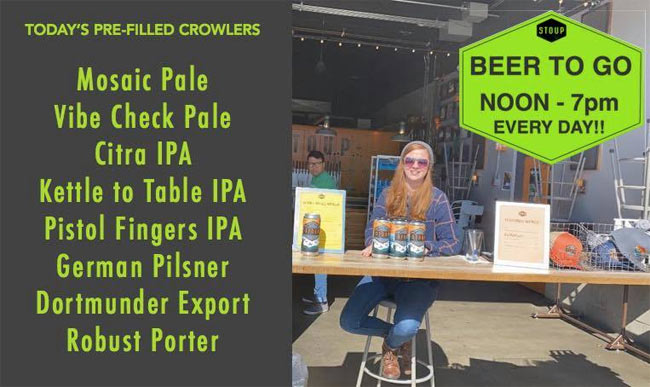 The beer station at Stoup Brewing. (From Facebook.)