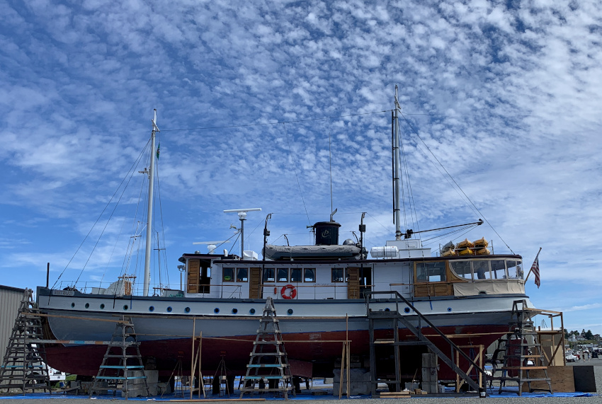 A boat in dry dock at the boatyard in Port Townsend.