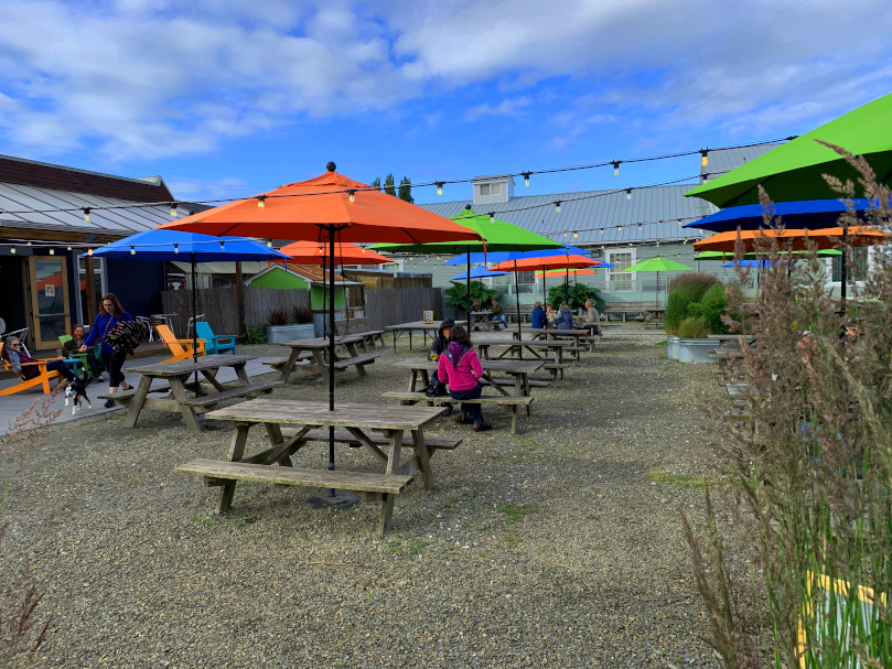 Beer garden at Pourhouse in Port Townsend, WA.