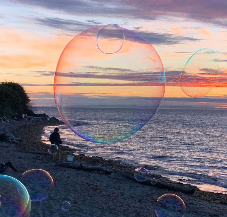 sunset with bubbles at North Beach Park.