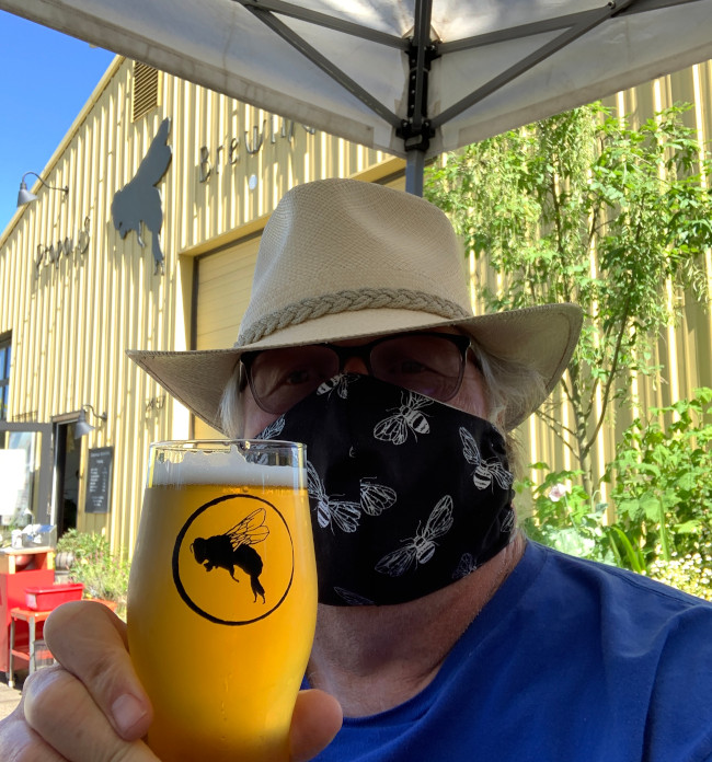 Beer and masks at Propolis Brewing in Port Townsend.