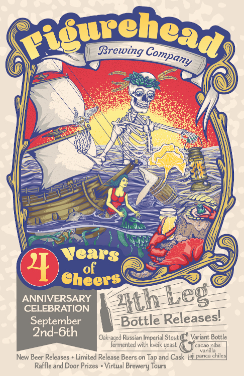 figurehead brewing anniversary party poster