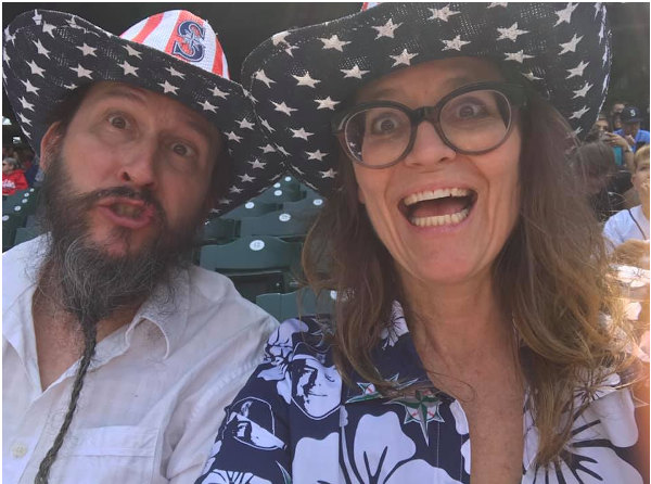 Robert and Melissa at last summer's July 4th Mariners game. From Facebook.