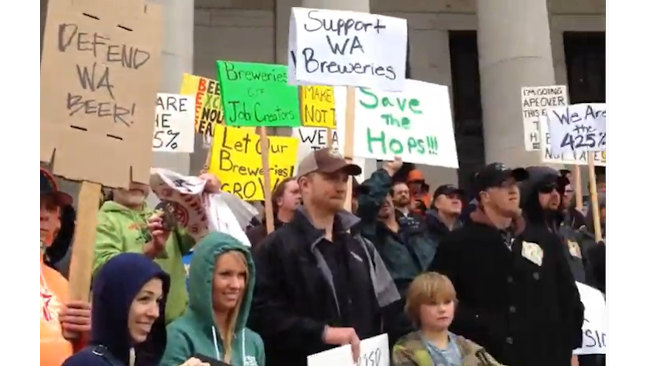 Beer tax rally on the steps of the Capitol Building (2013).